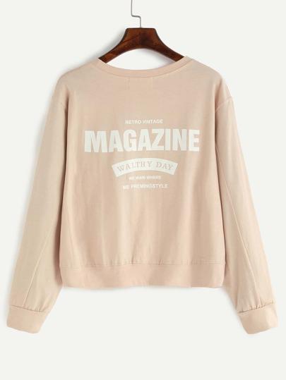 Apricot Letter Print Sweatshirt