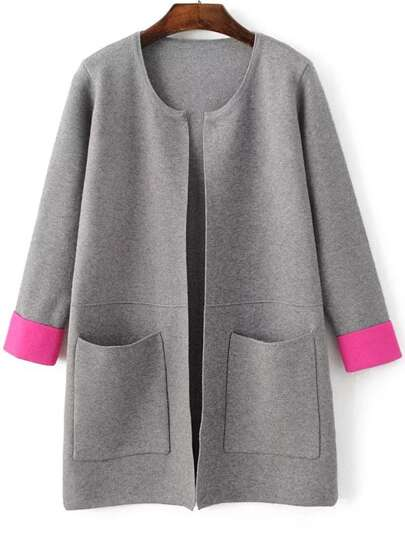 Grey Contrast Cuff Pocket Long Cardigan