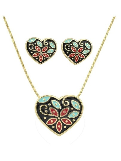 Black Enamel Flower Pattern Heart Necklace Earrings Set