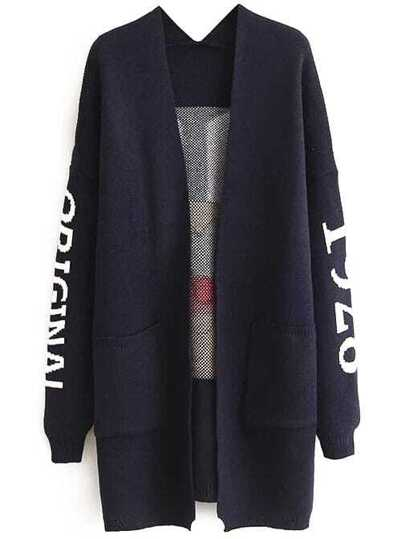 Navy Monkey Pattern Drop Shoulder Long Cardigan With Pockets