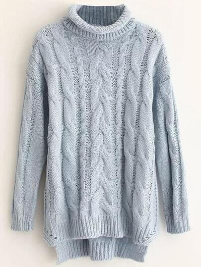 Blue Cable Knit Roll Neck Dip Hem Sweater