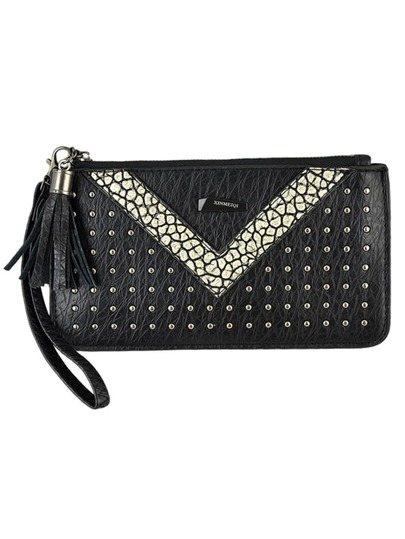Gold Pu Leather Spiker Clutch For Women