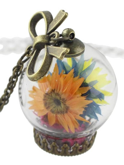 Colorful Flower Bottle Girly Pendant Necklace Costume Jewelry