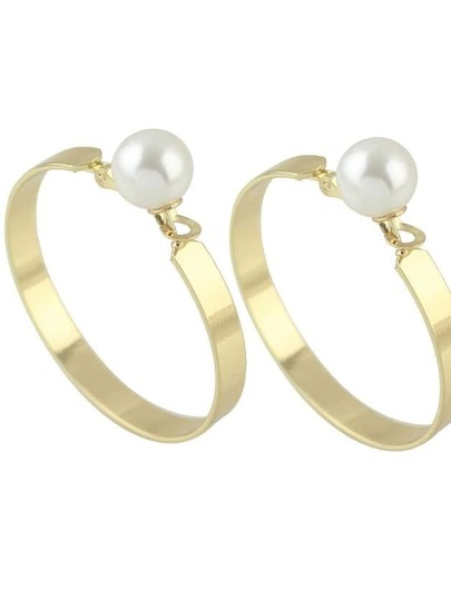 Gold New Imitation Pearl Big Hoop Earrings For Women
