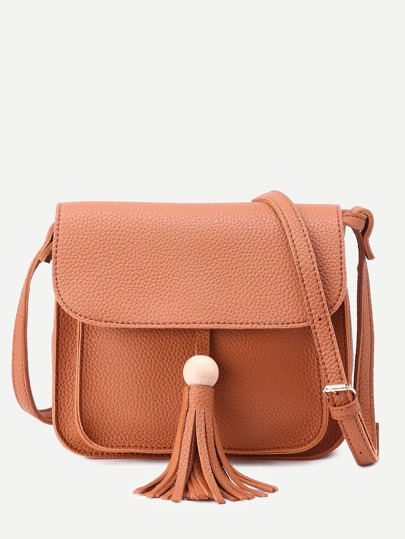 Brown Pebbled PU Tassel Trim Flap Shoulder Bag