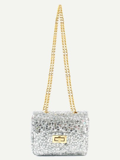 Silver Sequin Flap Bag With Chain