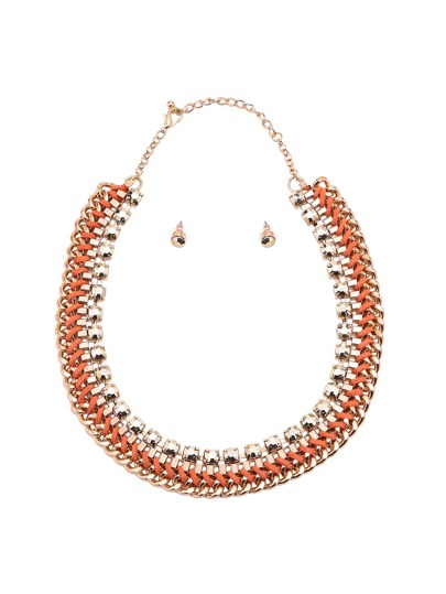 Orange Wide Chain Jewellery Set
