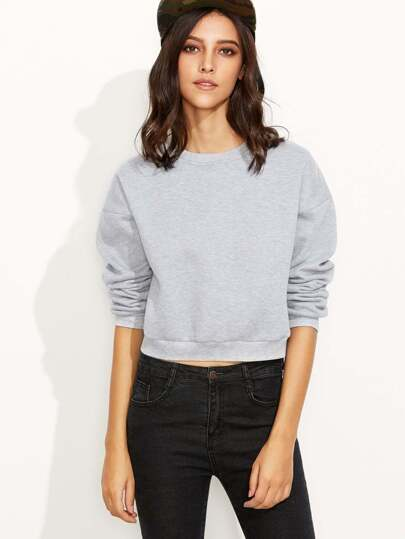 Heather Grey Drop Shoulder Crop Sweatshirt