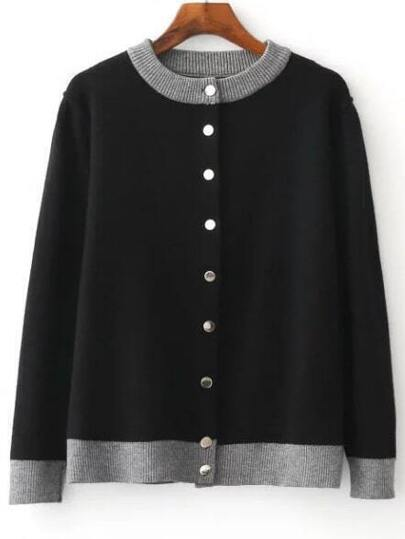 Black Single Breasted Knitted Bomber Jacket