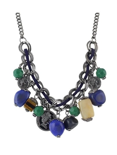 Colorful Resin Beads Coins Statement Necklace