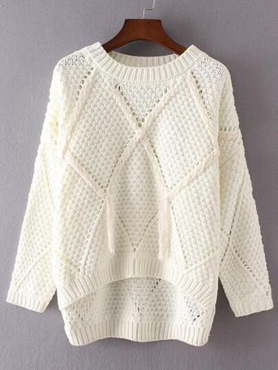 White Diamond Pattern Tassel Dip Hem Sweater