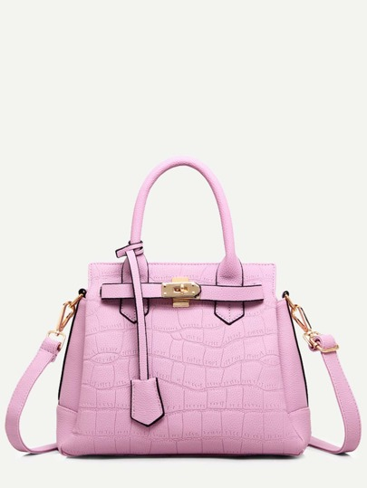 Pink Crocodile Embossed Tote Bag With Strap