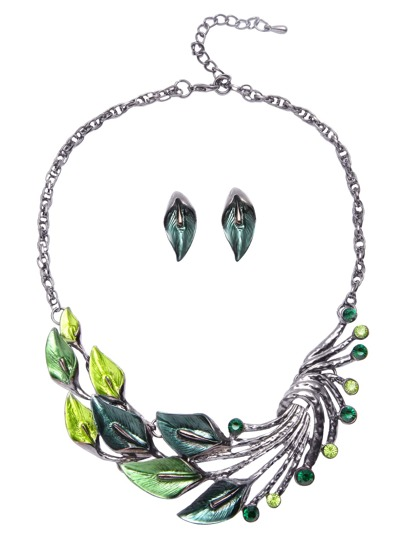 Vintage Green Rhinestone Peacock Feather Jewelry Set