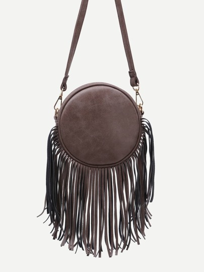 Brown Fringe Zip Pockets Round Crossbody Bag
