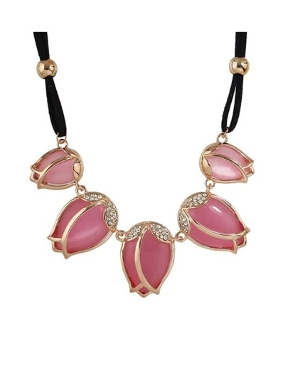Pink Rhinestone Statement Stone Necklace
