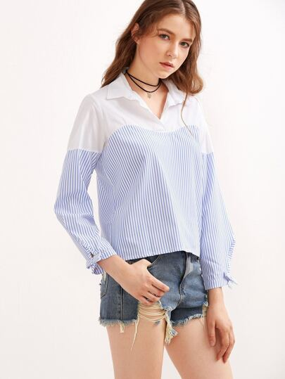 Contrast Vertical Striped Tie Sleeve Blouse
