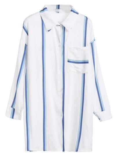 White Striped Drop Shoulder Slit Side Shirt