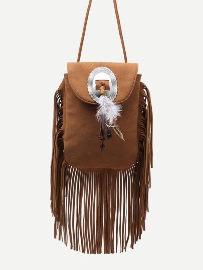 Khaki Feather Embellished Fringe Trim Flap Bag