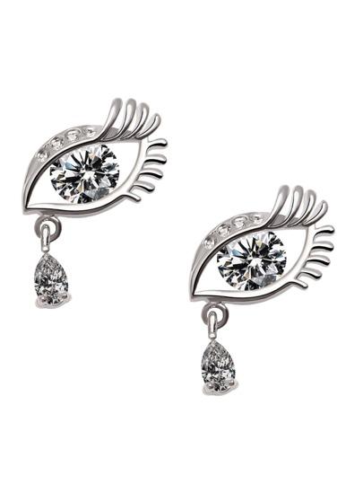 Silver Eye Shaped Rhinestone Stud Earrings