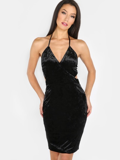 Halter Wrap Velvet Dress BLACK