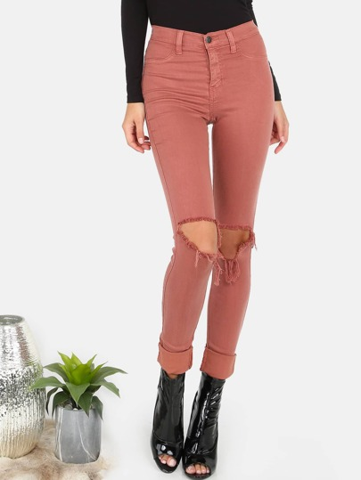 High Waisted Slashed Knee Skinnies MAUVE