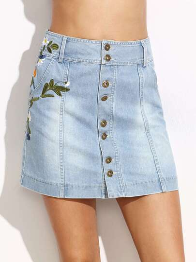 Light Blue Flower Embroidery Button Skirt