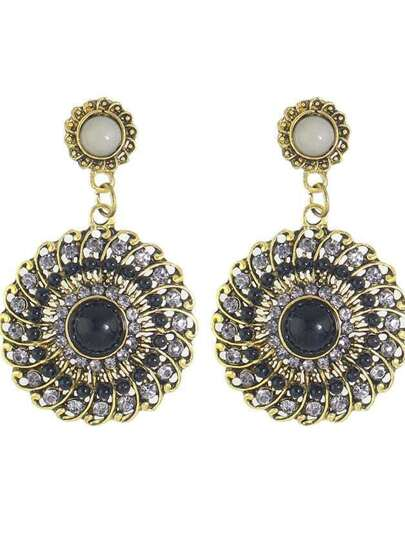 Black Boho Style Rhinestone Big Round Flower Drop Earrings