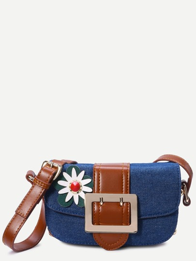Dark Blue Flower Embellished Denim CrossBody Bag