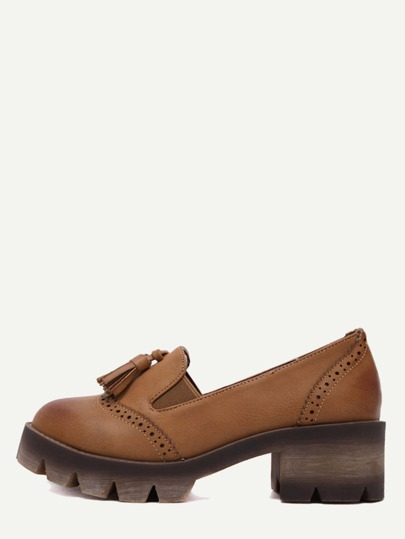 Brown Wingtips Faux Leather Tassel Shoes