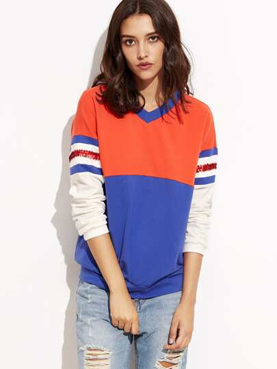 Color Block V Neck Sweatshirt With Sequin Detail