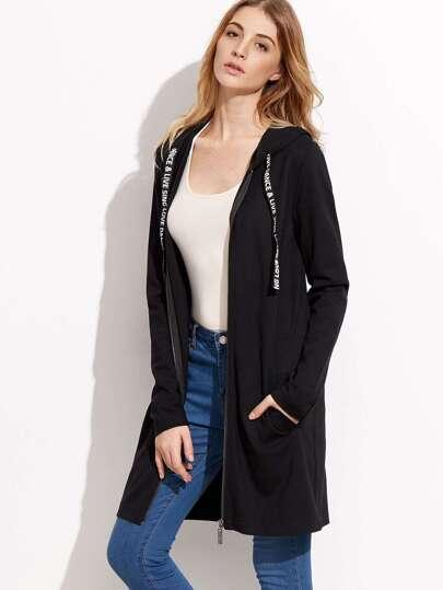 Black Letter Print Tape Hooded Zip Up Coat