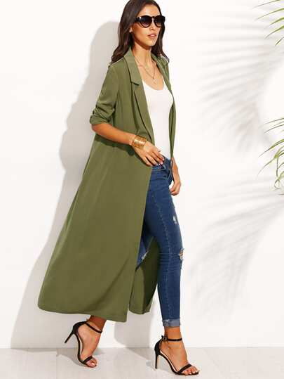 Army Green Lapel Long Sleeve Outerwear