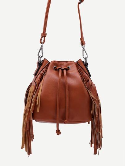 Brown Drawstring Closure Fringe Bucket Bag