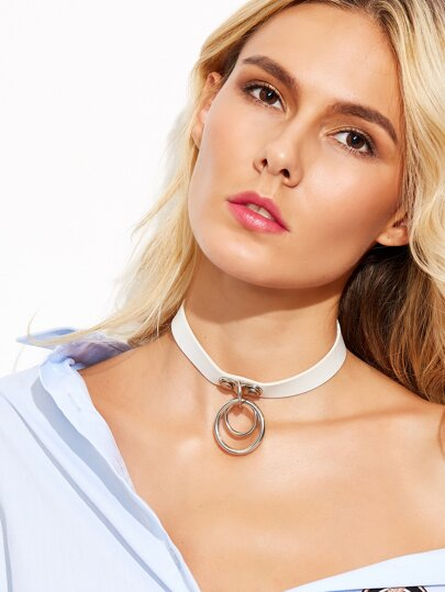 White Double Ring Accent Choker Necklace