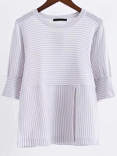 Light Grey Striped Round Neck Split Front Knitwear