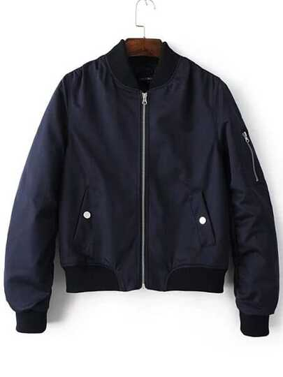 Navy Zipper Up Flight Jacket With Pockets