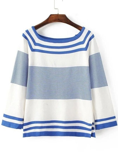 Blue Striped Raglan Sleeve Side Slit Knitwear
