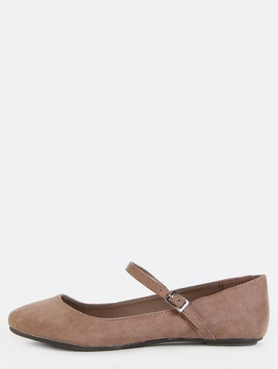 Mary Jane Suede Flats TAUPE