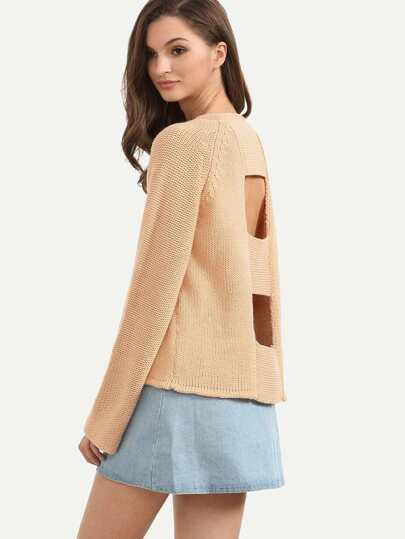 Apricot Cutout Back Wide Raglan Sleeve Sweater