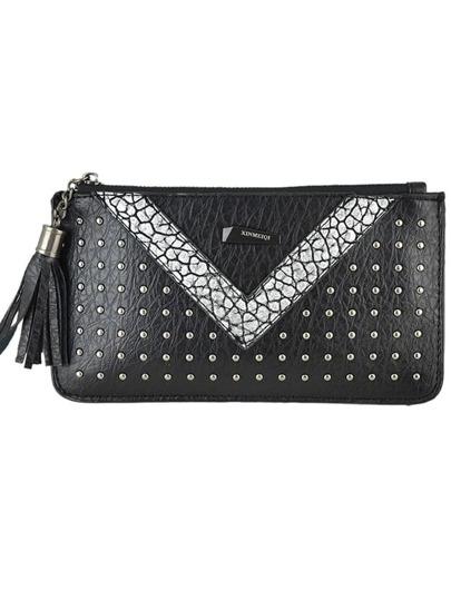Silver Pu Leather Spiker Clutch For Women