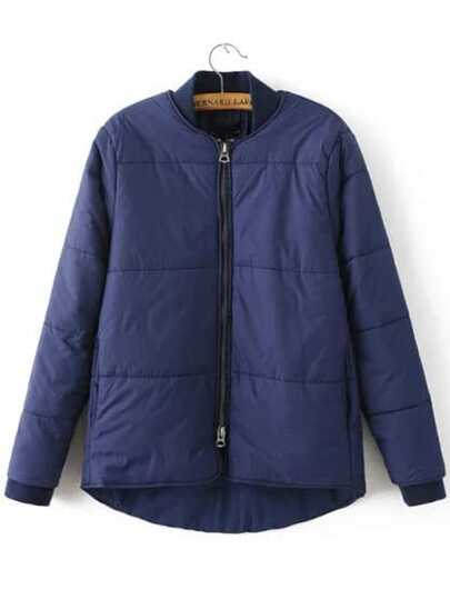 Blue Zipper UP High Low Padded Jacket