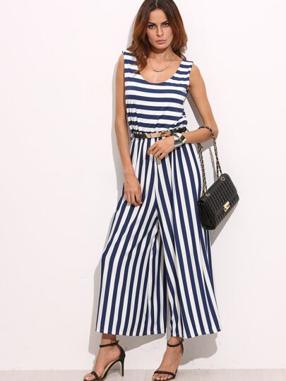 Navy White Mixed Stripe Wide Leg Jumpsuit