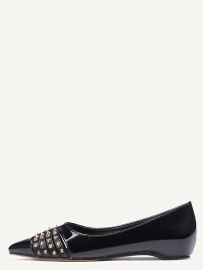 Black Faux Leather Point Toe Rivet Flats