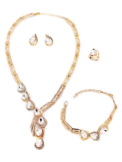 Luxury Gold Plated Rhinestone Water Drop Jewelry Set