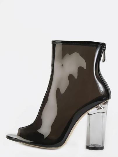 Clear Chunky Heel Peep Toe Ankle Booties BLACK