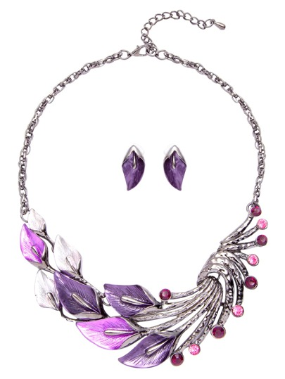 Purple Rhinestone Peacock Feather Jewelry Set