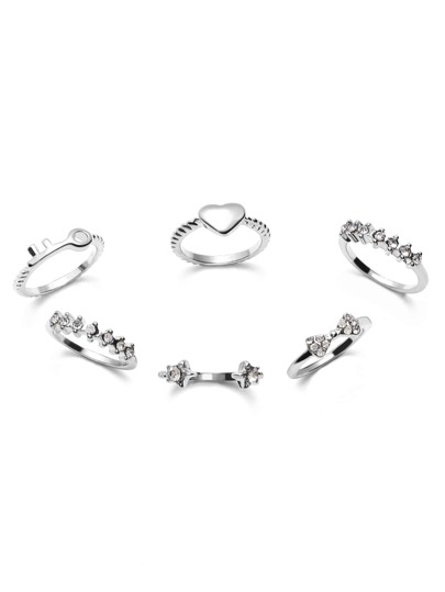 6PCS Silver Rhinestone Cute Sweet Style Ring Set
