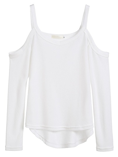 White Cold Shoulder High Low T-shirt