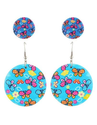 Blue Flower Stud Drop Earrings Set