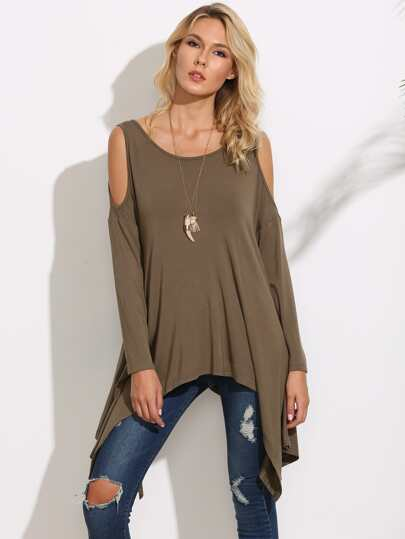 Olive Green Cold Shoulder Asymmetric T-shirt